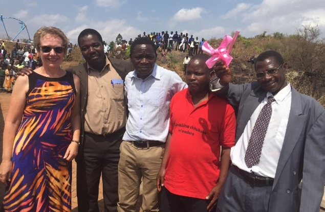 Elspeth, the local Councillor, Malawian Trustee Glad Munthali, the local MP and Chief Kapeya